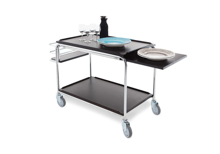 Serving trolley with black laminate shelves and chromed frame