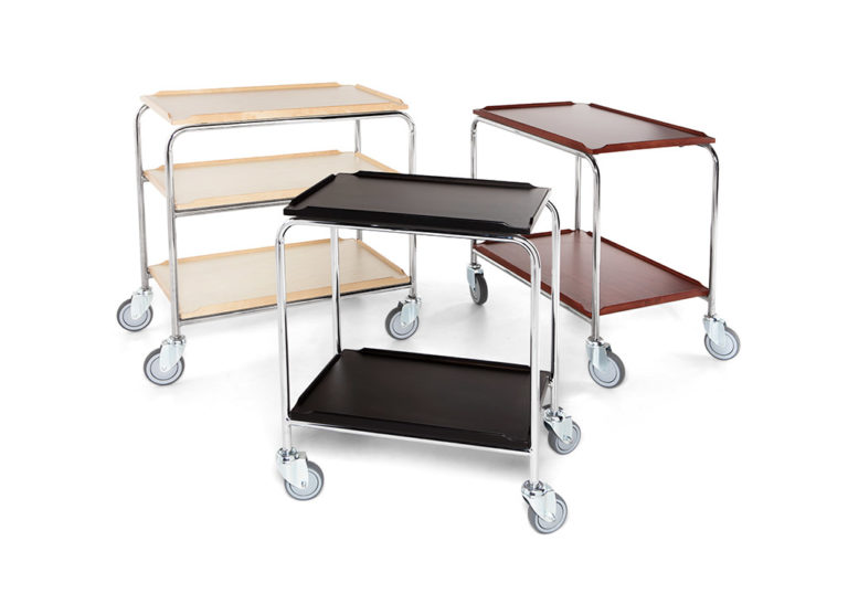 Mini trolley and trolley with laminate shelves