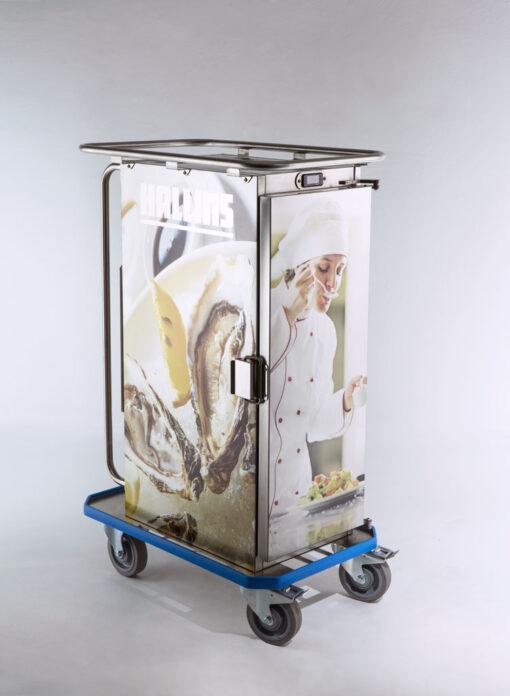 Mattransportvagn med bilder och logga