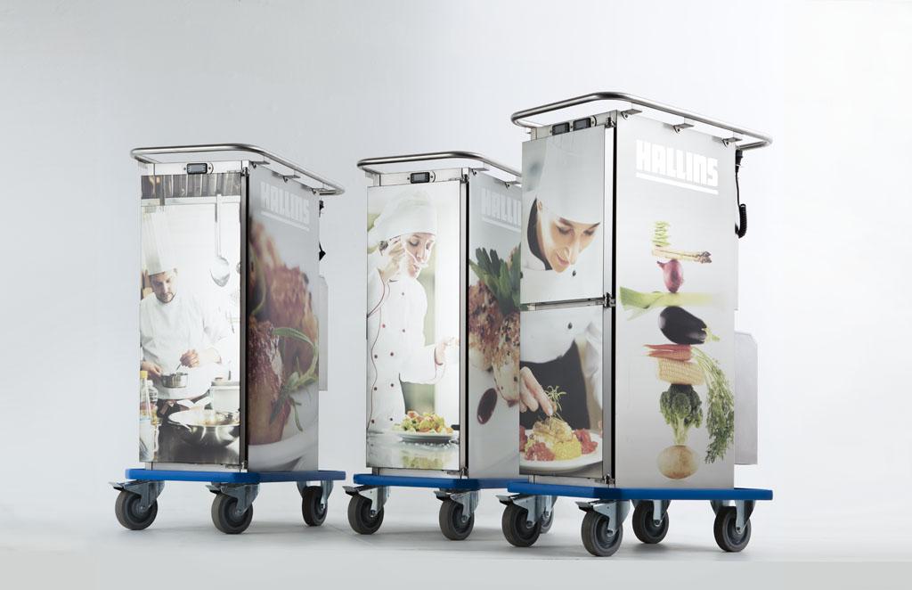 Mattransportvagnar med logga och bilder