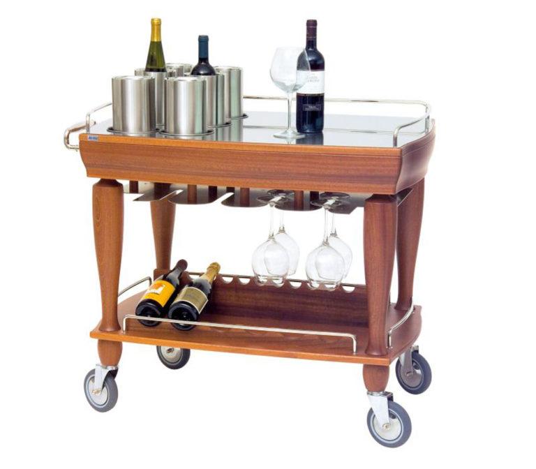 Serveringsvagn för vin och likör med sex flaskkylare