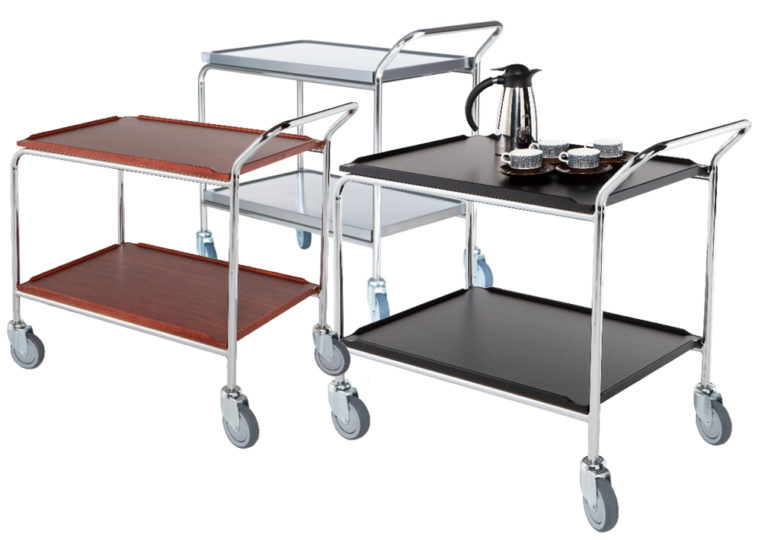 Table trolley with laminate shelves