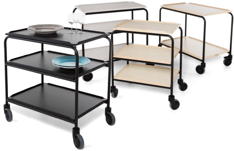 Serving trolley with laminate shelves