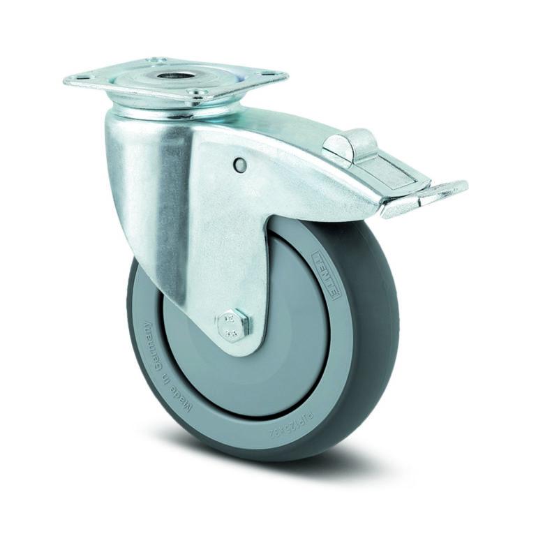 150 mm hjul med platta, svängbart med broms