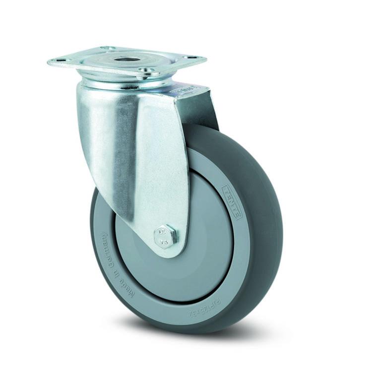 150 mm hjul med platta, svängbart utan broms